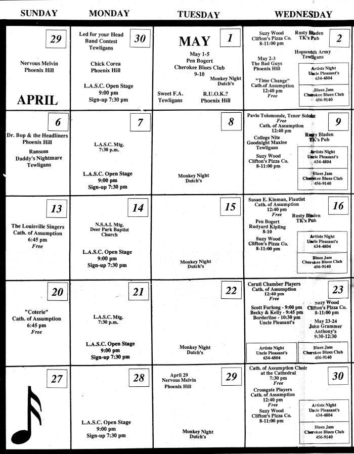 1990 Calendar.May 1990 Calendar May 1990